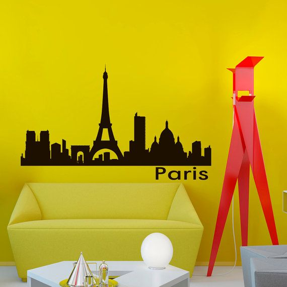 Vinyl Wall Decals Paris Skyline City Silhouette Sticker Home Decor ...
