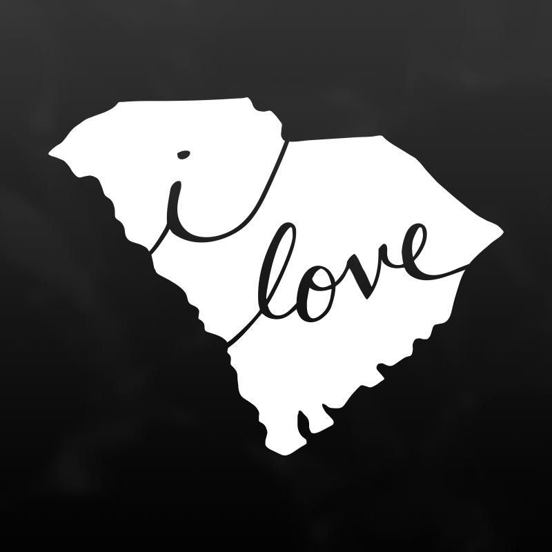 Show your love for south carolina with this white vinyl decal stick it on your car laptop phone or anywhere its water resistant and easy to apply