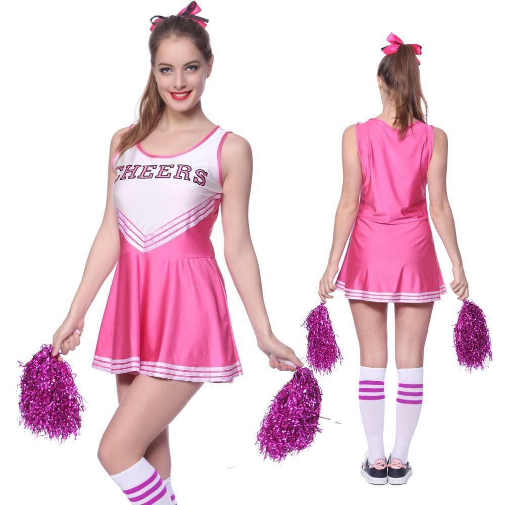 Women Cheerleader Uniform School Girl Fancy Dress Costume 2Piece Outfit Football