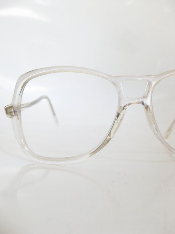 2d47ace7b3e 80s Crystal Clear Aviator Eyeglasses 1980s Mens Glasses See Through  Oversized Hip Hop Guys Homme Indie EIghties