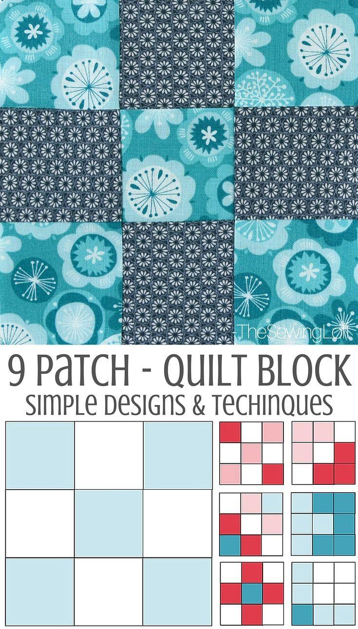9 Patch Quilt Block | Pinterest | Diy nähen, Patchwork und Vorlagen