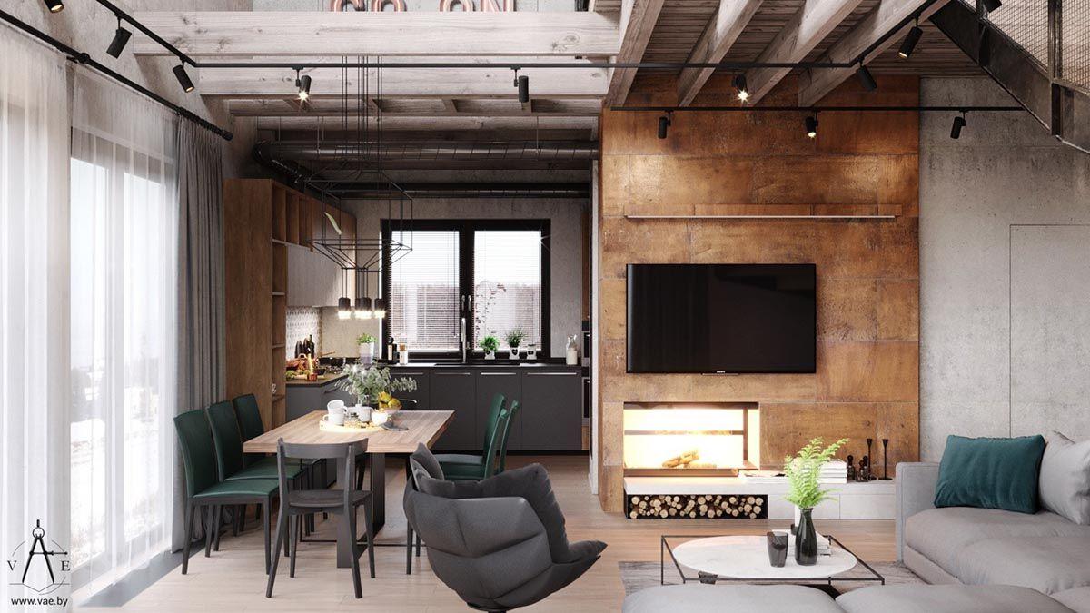 Modern Warm Industrial Living Room