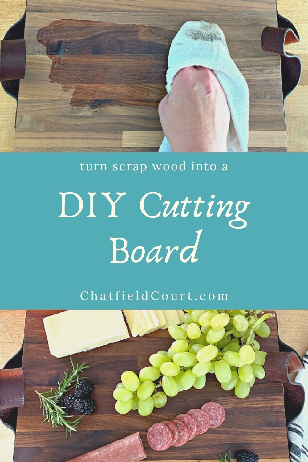 How to make a DIY butcher block cutting board from a scrap piece of wood and a thrifted kid's leather belt.