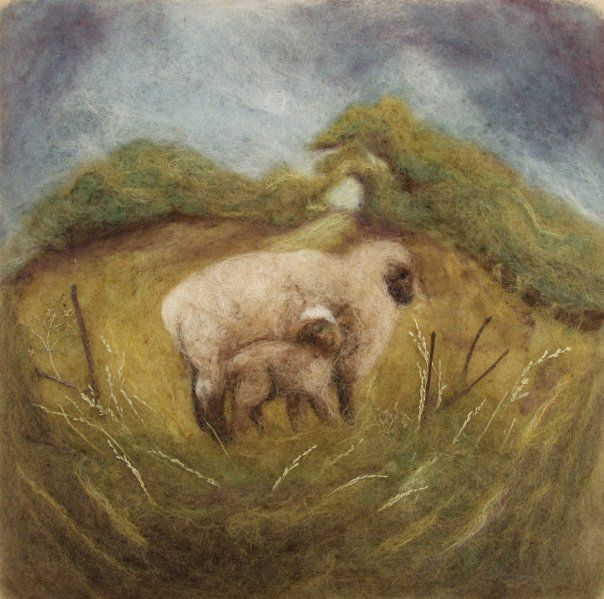Sheep - Wool Needle Felted Painting by Julie Tabbitas Moore