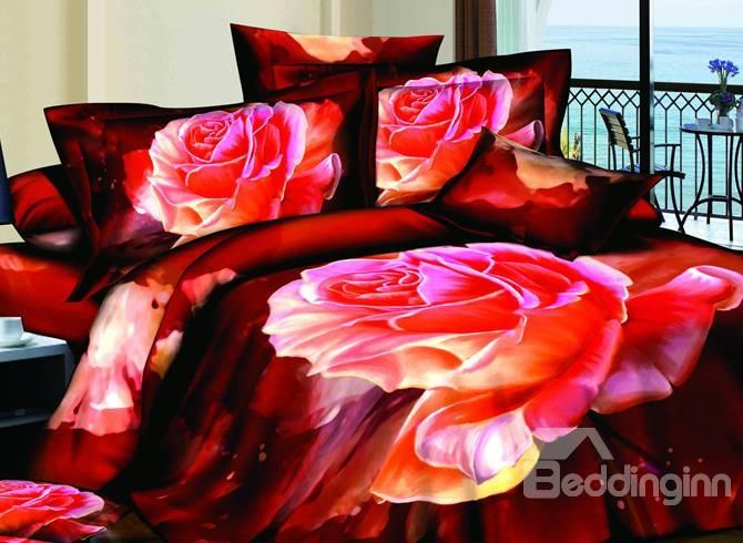 New Arrivals Hot-sell Bright Burning Rose 4 Pieces Bedding Sets