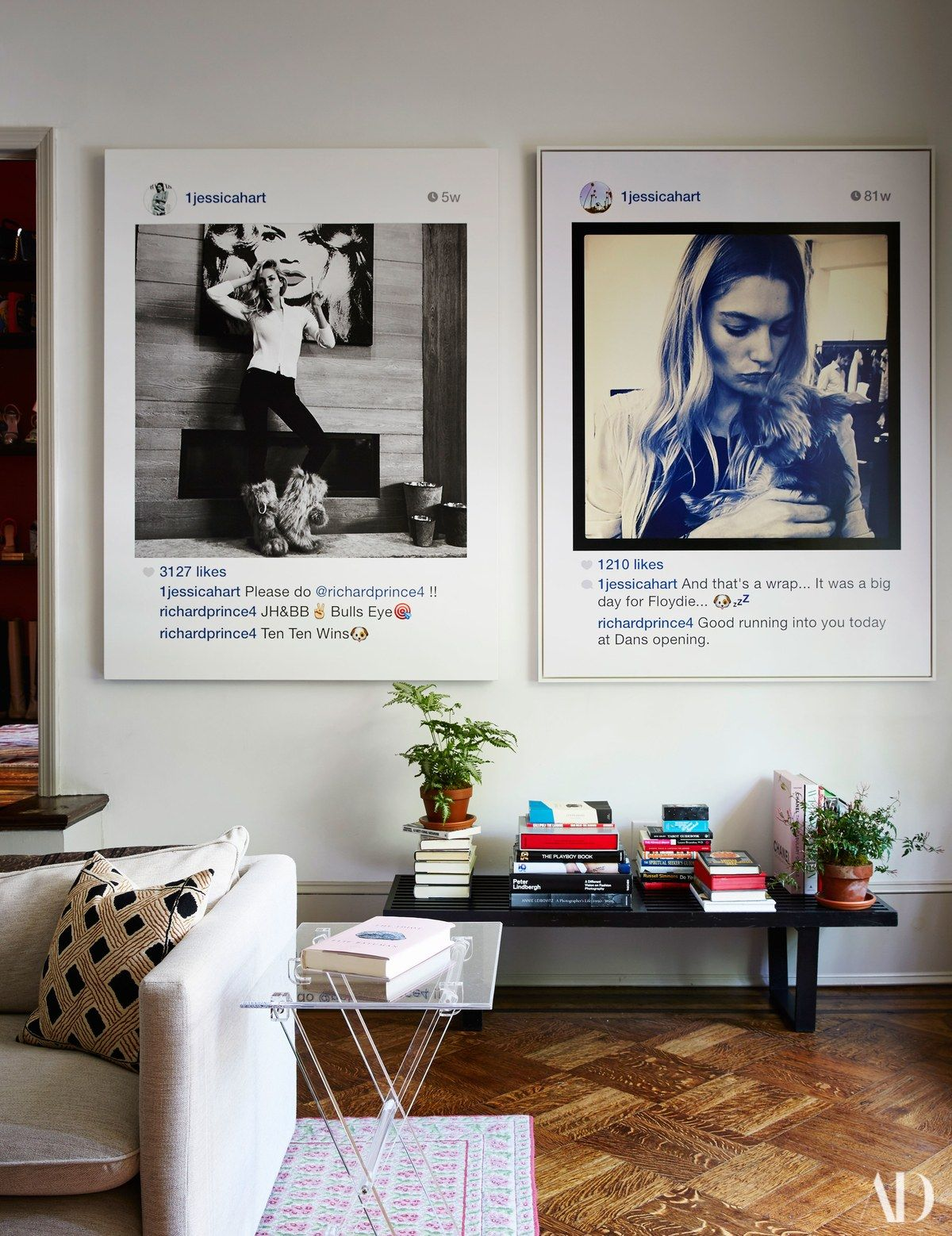 pair of richard prince portraits both featuring hart hangs above midcentury george nelson bench the lucite side table is custom made by eric also rh pinterest