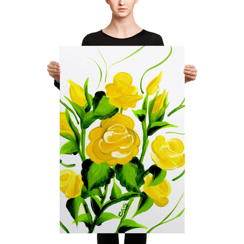 Yellow Roses, Canvas Print, Assorted Sizes, Floral Wall Art, Yellow ...