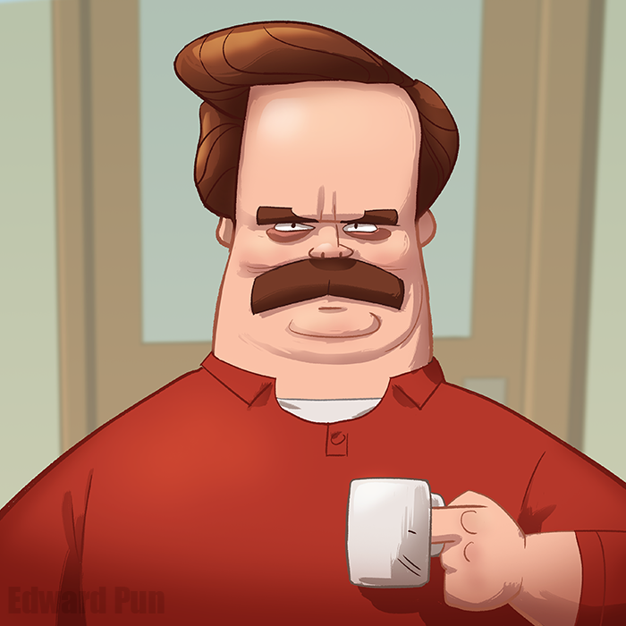 Ron Swanson Parks And Recreation Adventure Time Art Ron Swanson