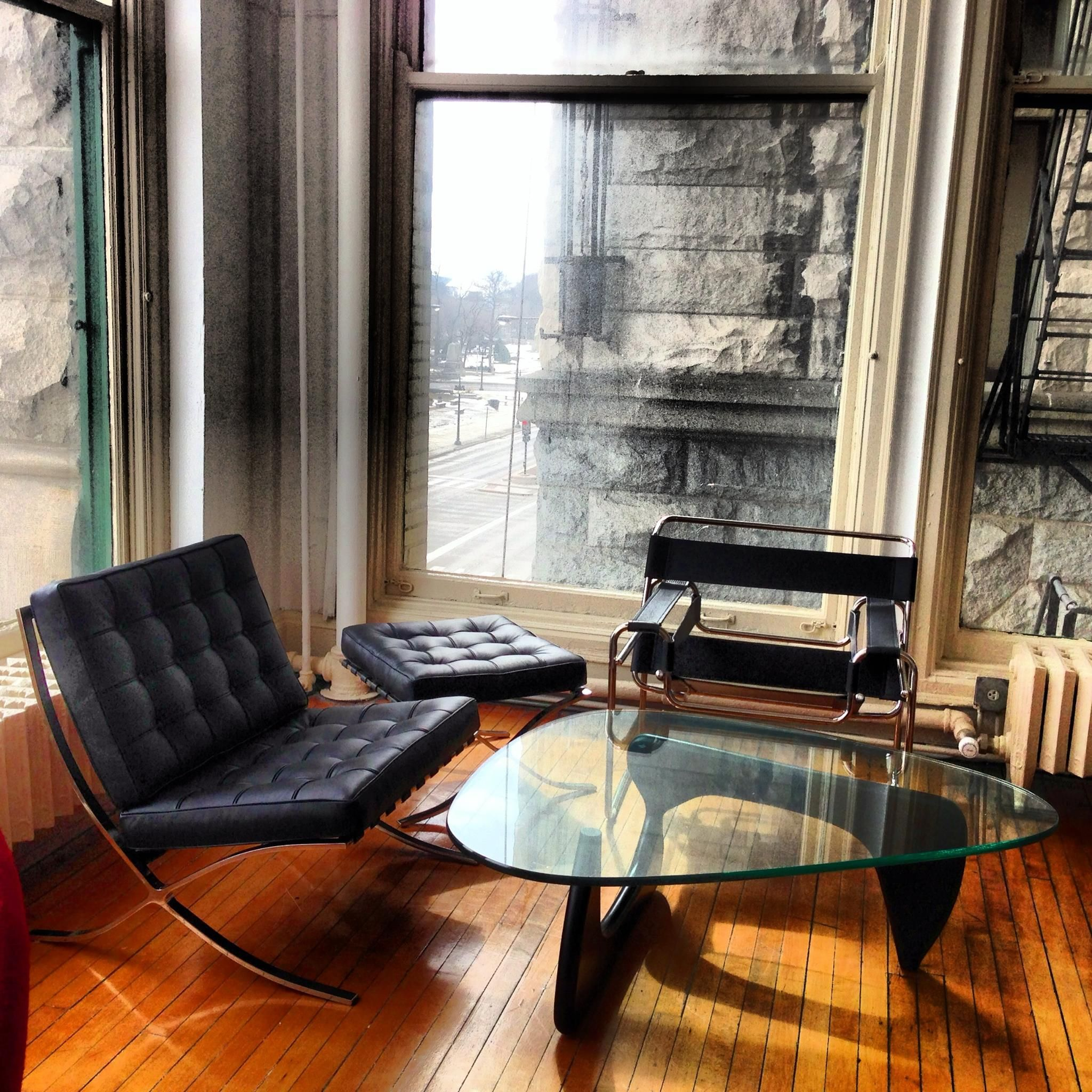 Barcelona Exhibition Chair Ottoman Wassily Chair and Noguchi