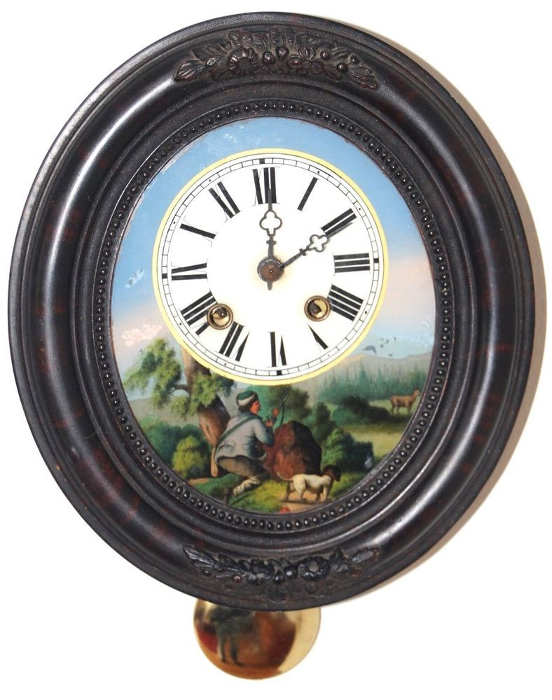 Wunderschöne Antike Wanduhr Rahmenuhr Bilderuhr Hinterglas Pendel Schlüssel Antiquitäten Kunst Mobiliar Interieur Uhren Ebay