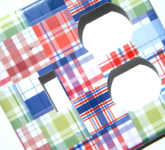 Pottery Barn Kids Bright Striped Patchwork Pink Green Blue: Madras Plaid Light Switch Outlet Combo Cover -- Blue Green