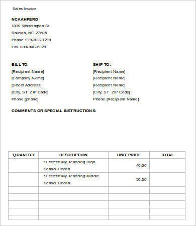 Blank Invoice Templates 18+ Free Printable Xlsx, Docs  PDF