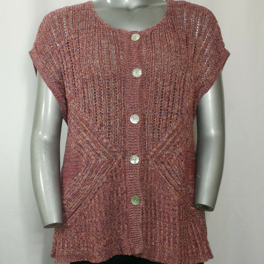 Coldwater Creek Sweater Womens 2x Dusty Rose Open Knit Sleeveless Button Fashion Clothing Sweaters For Women Knitting Women Sweater Coldwater Creek Sweater