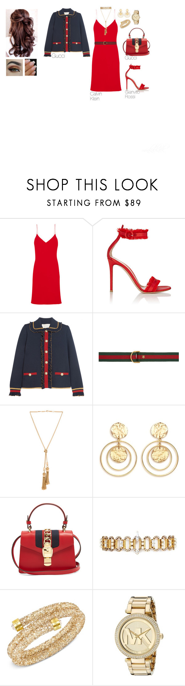"""272"" by minkablack ❤ liked on Polyvore featuring Calvin Klein Collection, Gianvito Rossi, Gucci, Chloé, Kenneth Jay Lane, Erickson Beamon, Swarovski and Michael Kors"