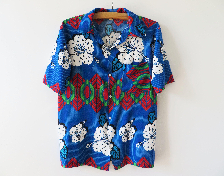 65084a862f2e82 Vintage 80s Hawaiian Shirt Men Summer Shirt Floral Viscose Shirt Short Sleeve  Shirt Button up Shirt Hipster Chemise Button Down Shirt Medium by ...