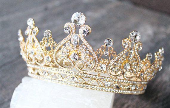 Super Gold Full Bridal Crown, GRACE Scroll Swarovski Crystal Wedding  PT57