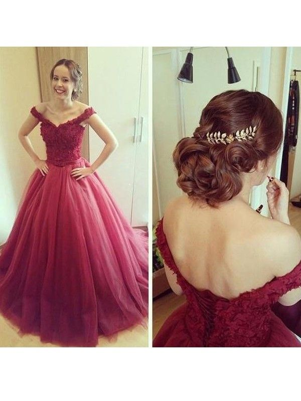 Ball Gown Off-the-Shoulder Applique Sleeveless Floor-Length Tulle Dresses · Long  Prom ...