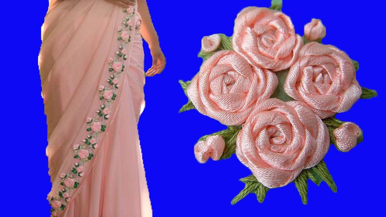 D I Y Satin Ribbon Work Rose Flower Making On Sarees Hand Embroidery Stitches Part1 Tutorial Youtube Bunga Teknik Menjahit Menjahit