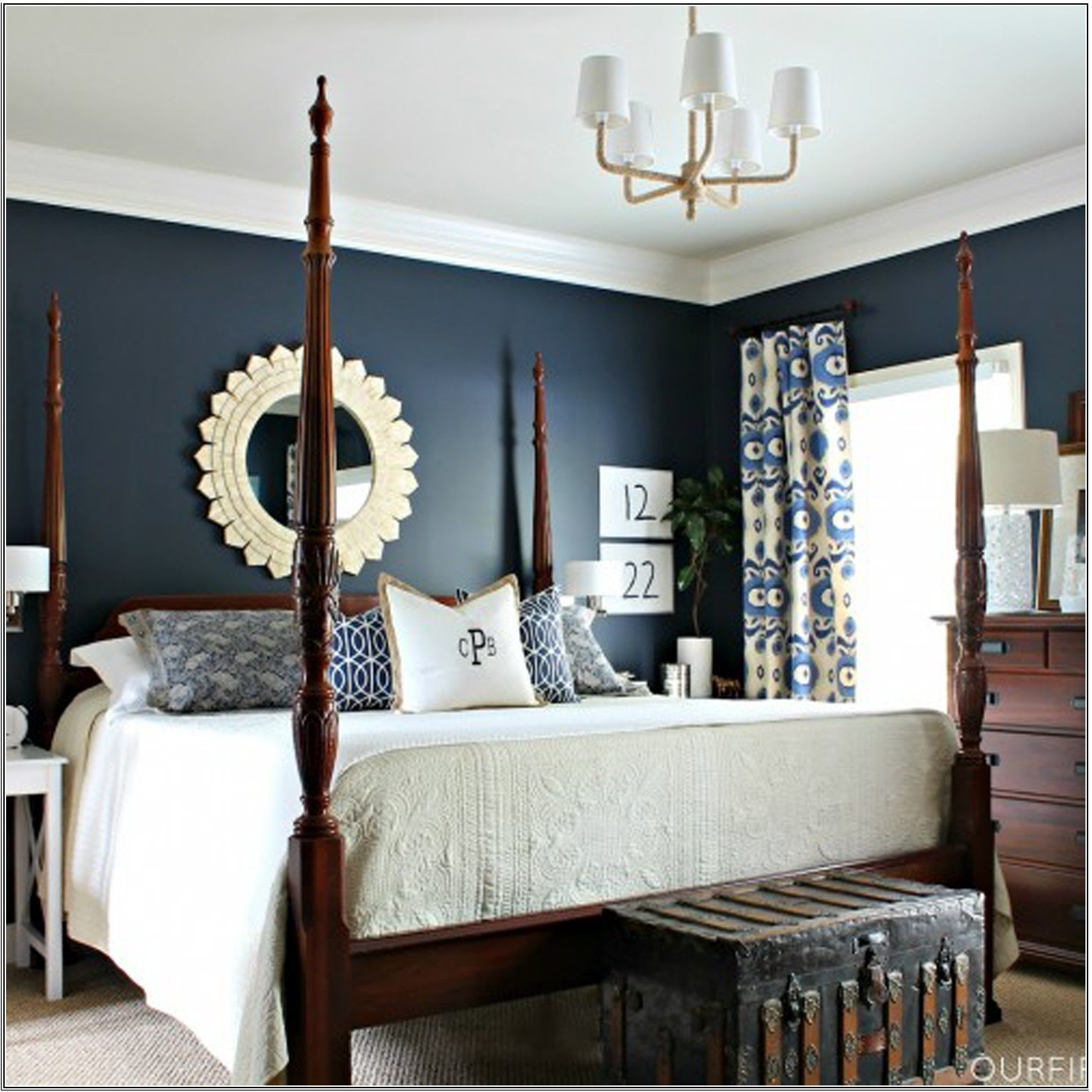 Bright Navy Blue Wall Colors For Elegant Bedroom Design With