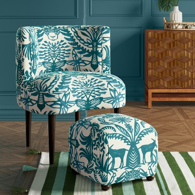 Clary Curved Back Accent Chair Black Amp White Floral