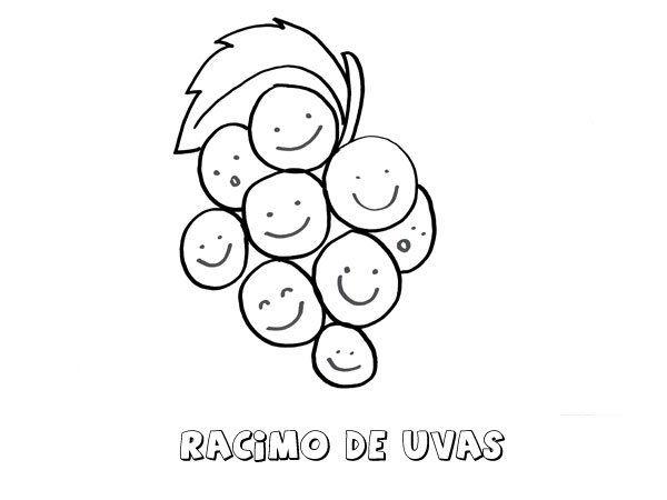 Dibujos Para Colorear Racimos De Uvas Fruta Dibujos