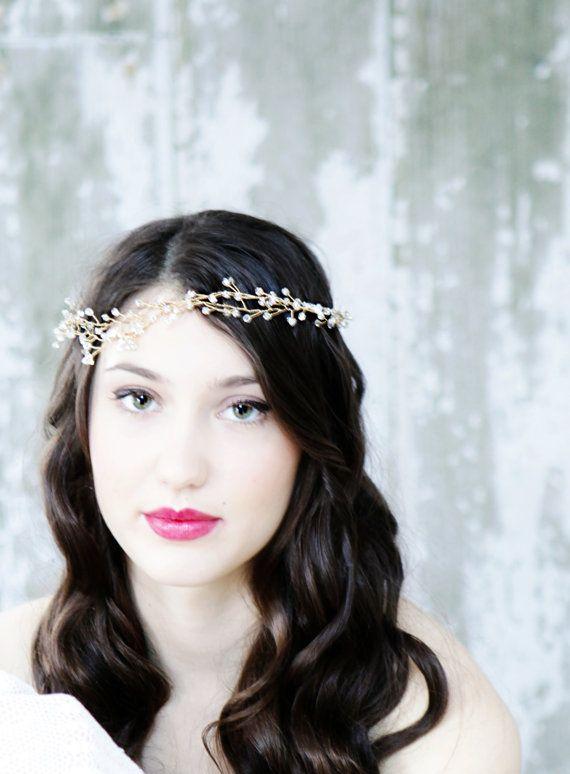 7ae745ced72 Ethereal Gold Crystal Wedding Accessory Hair Vine, Head Band, Hair ...