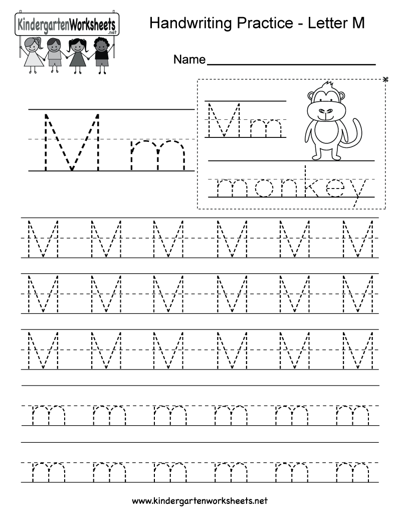 Worksheets Letter M Worksheets For Kindergarten kindergarten letter m writing practice worksheet this series of handwriting alphabet worksheets can also be