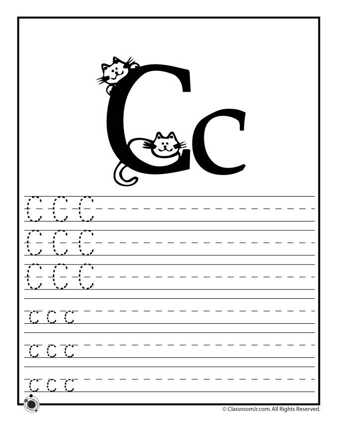Learning Abc S Worksheets Learn Letter C Classroom Jr I