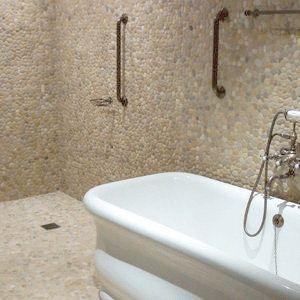 Java tan pebble tile pebble tiles shower bathroom and bath for Bathroom wet wall designs