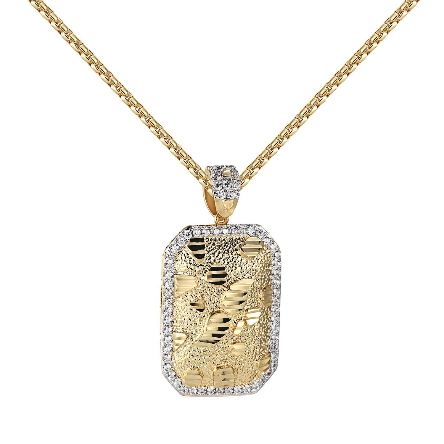 Nugget style dog tag pendant k yellow gold finish free