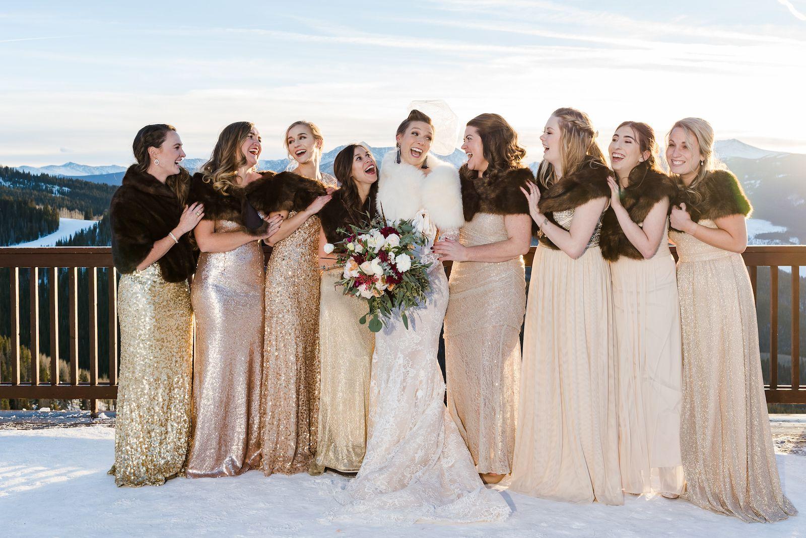 A Bride And Her Bridesmaids Shine At A Winter Wedding Bridesmaid Blog Photo Bridesmaid Dresses
