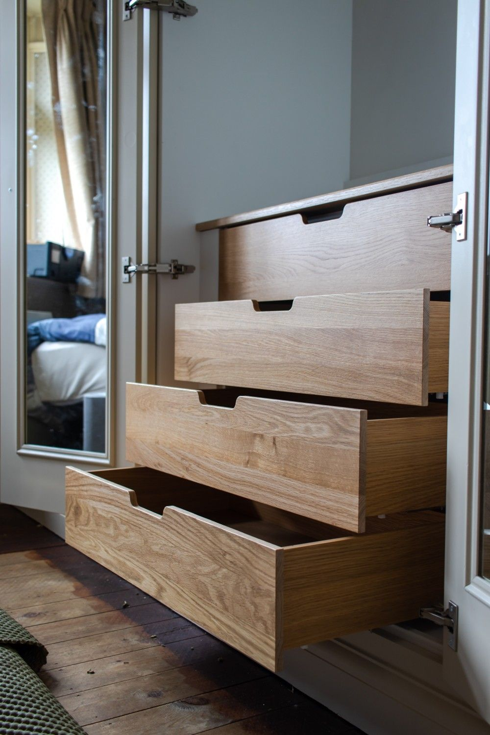 Oak internal drawers Fitted furniture, Under stairs
