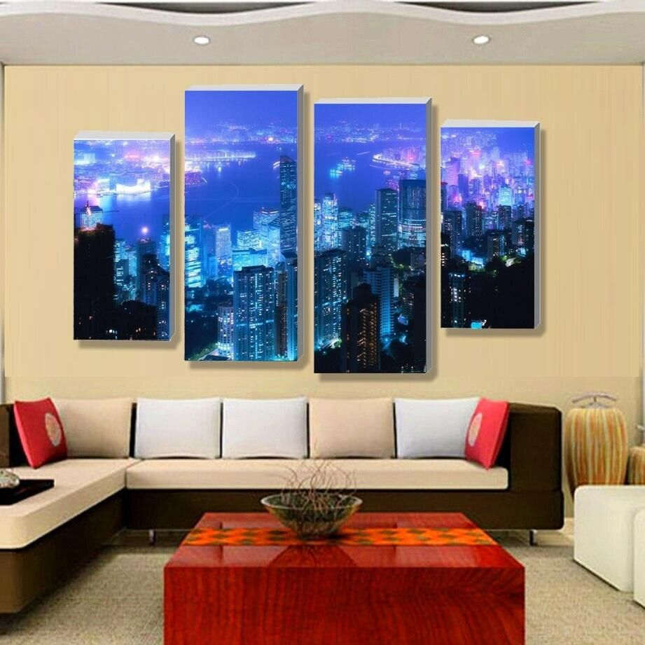 $0 - Nice 4 Piece NO Framed Canvas Photo Prints Night View Of Urban posters & prints Paintings Wall Art Canvas Paintings Home Decor - Buy it Now! #canvasprint #canvaspainting #canvasart #wallart #walldecor #walldecoration #homeart #homedecor #homedecoration #modern #home #interior #ideas #style #decor #decorideas
