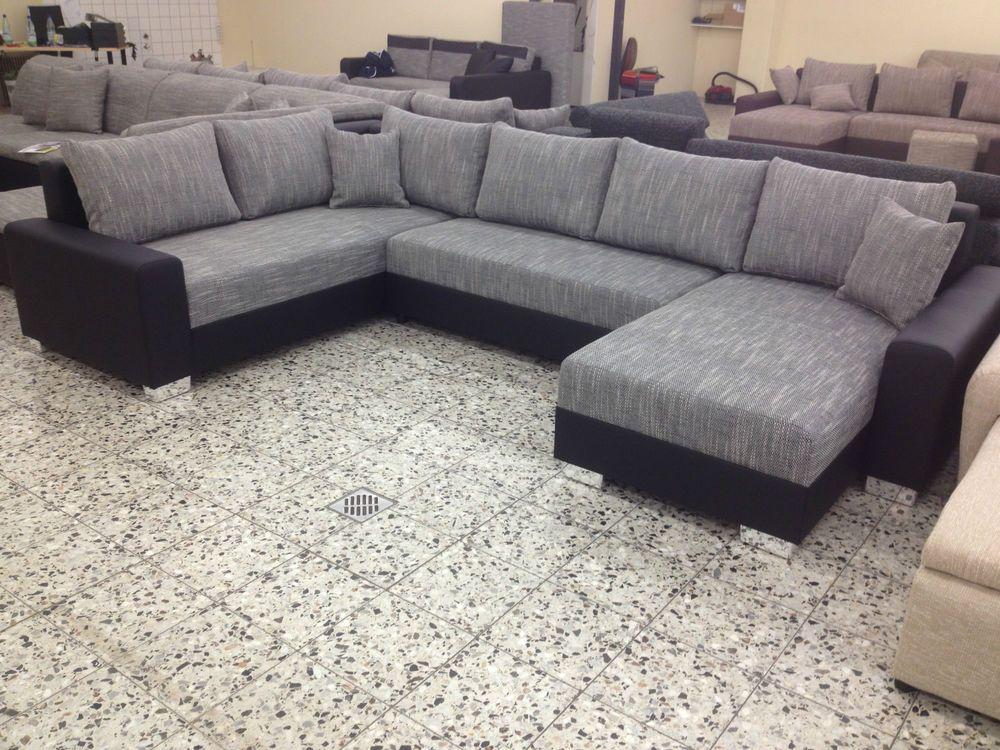 U BETTSOFA SchlafCOUCH Sofa COuch Wohnlandschaft PolsterECKe Bettfunktion  SW/GR1