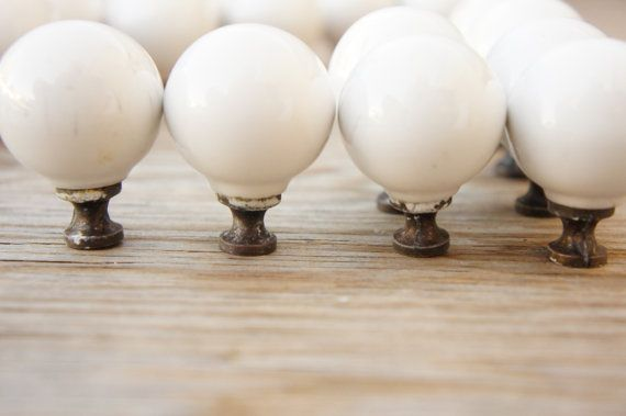 Vintage 70s-80s White Porcelain Cabinet Knobs by SycamoreVintage