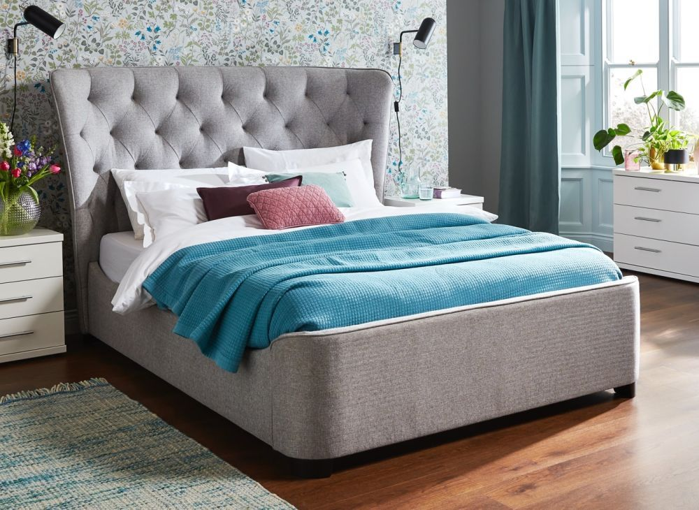 This Wells Grey Fabric Bed Frame Designed To Offer A Grand Style