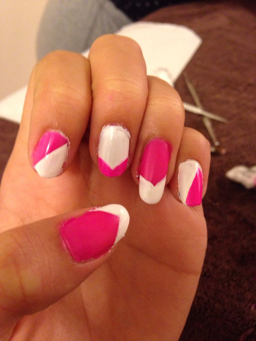 Pink and white.