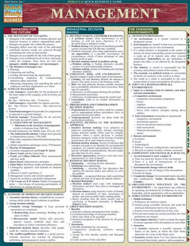 Management Laminated Reference Guide Management Business