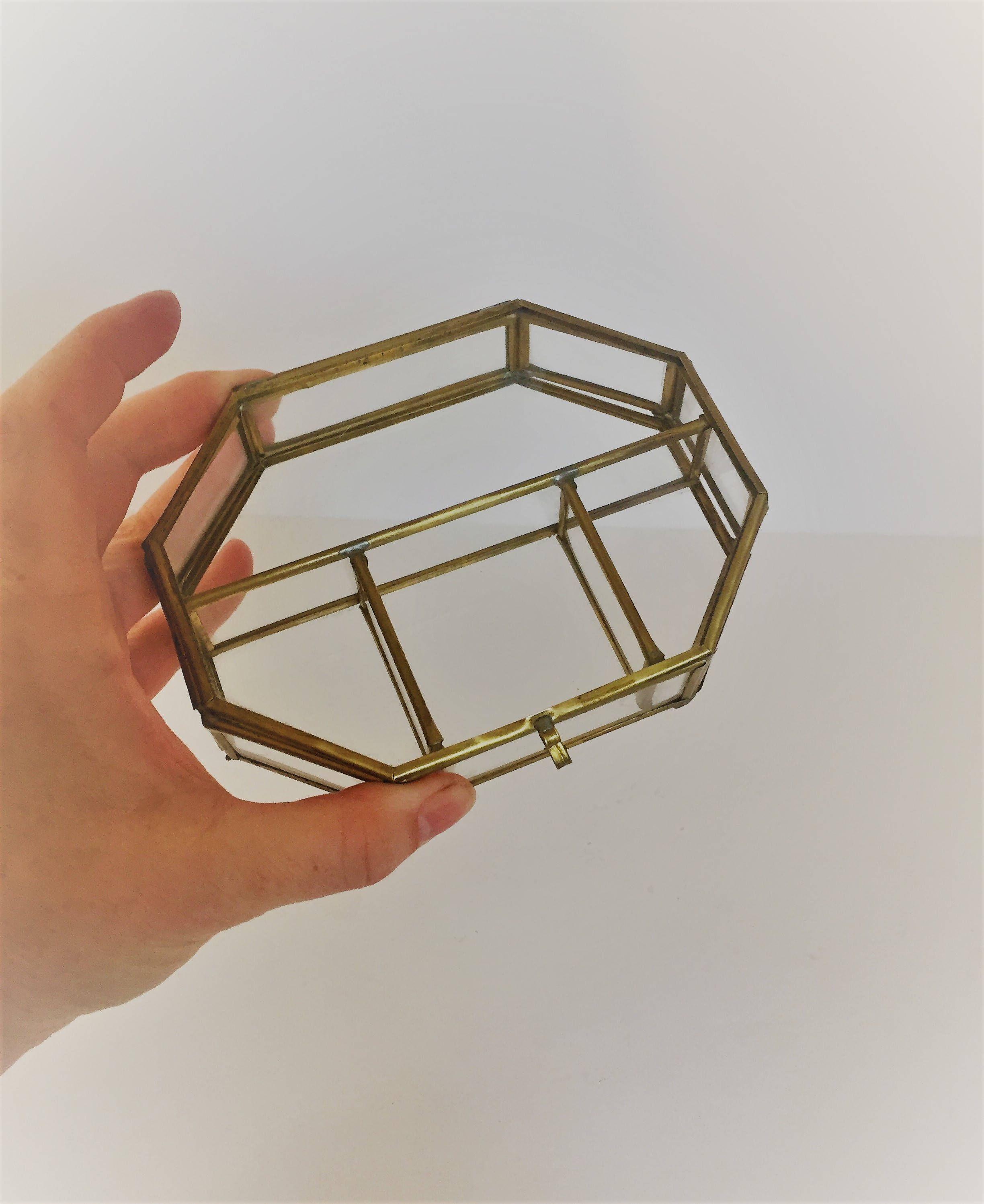 Vintage glass jewelry box small glass and brass girls jewelry box