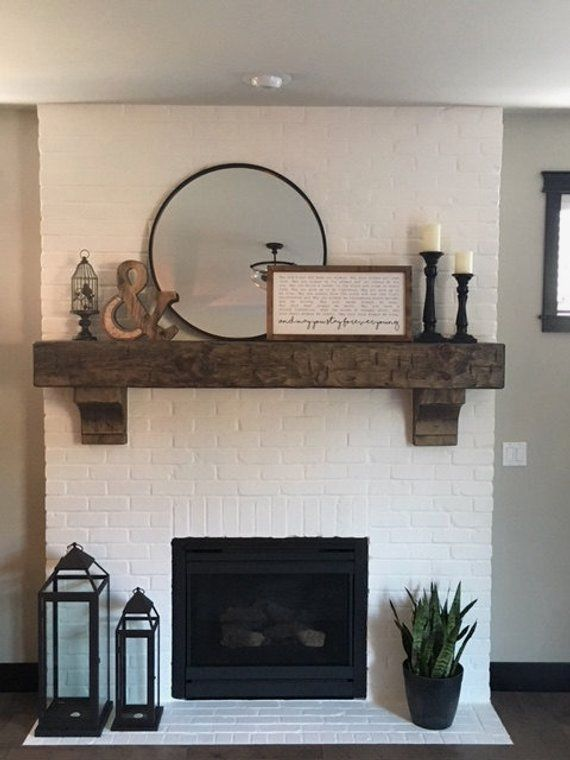 """Photo of Fireplace Mantel 62″  Custom  Chunky  Long Rustic 8 by 8 """" Hand Hewn Solid  Pine Antique Look"""