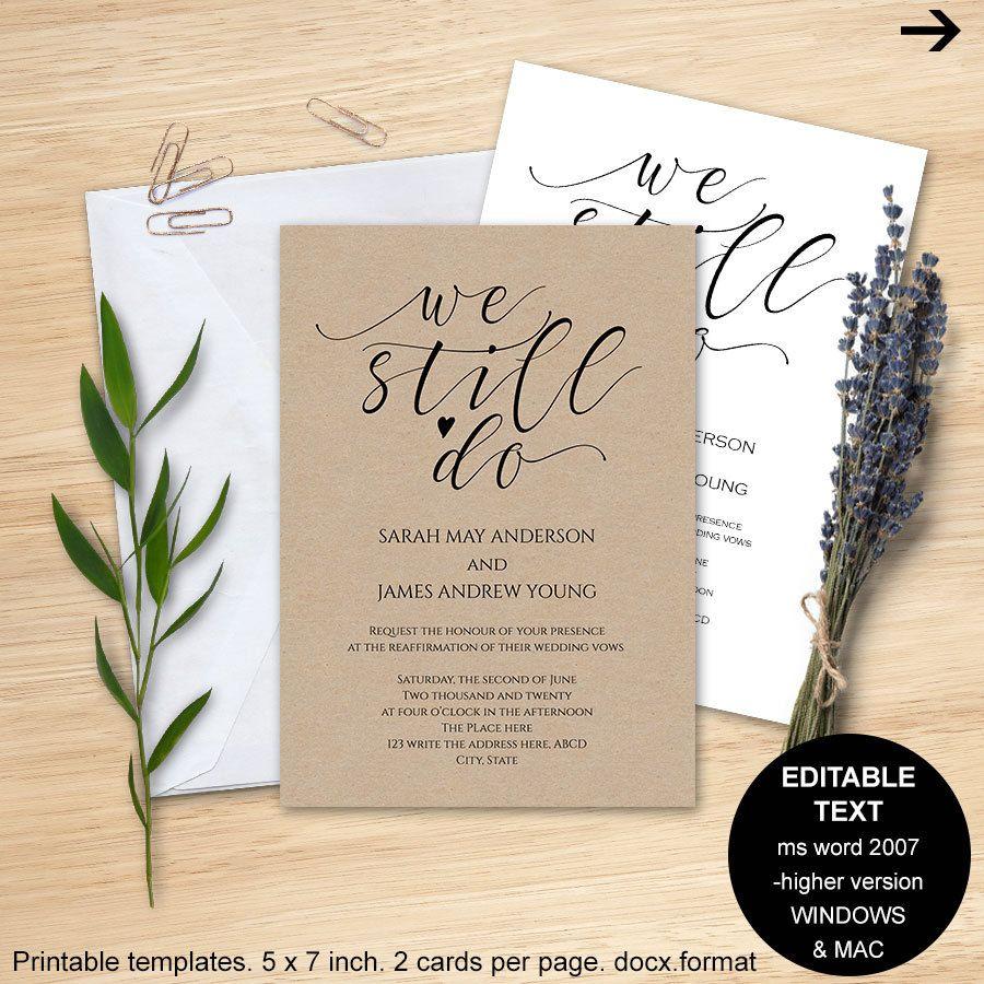 Wedding Vows Invitations Vows Invitations Printable Vow Renewal