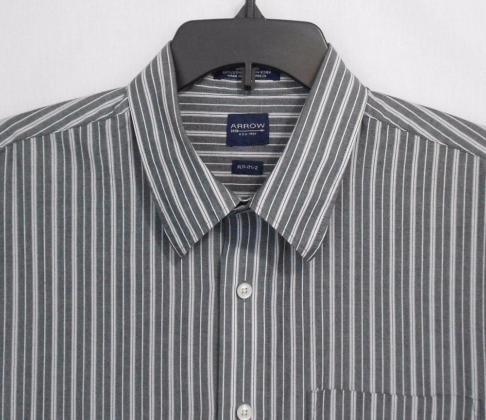 6728f38750e1e9 Arrow Shirt Size XL 17 17.5 Multi Color Button Down Striped Short Sleeve  Mens #Arrow #ButtonFront