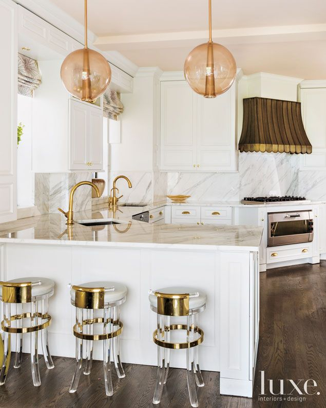 Gorgeous White Kitchen From Celerie Kembel With Bronze, Brass And Gold  Accents. How Amazing Are Those Lucite And Brass Barstools?