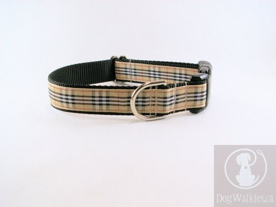 Plaid Dog Collar 1 Wide Burberry Inspired Tartan By Dogwalkies