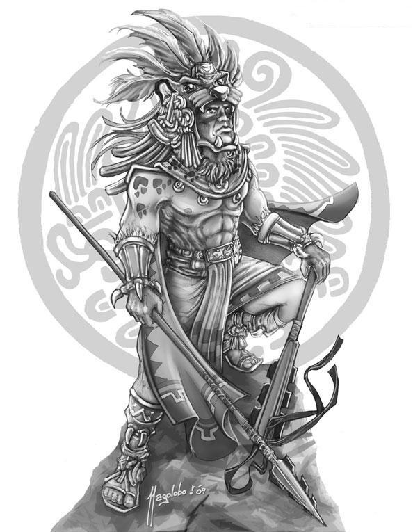 Azteca Warrior Dibujo Pinte