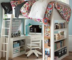 loft bed, such a great way to space save!!! Guest room/office?
