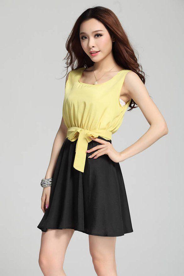 14adf017a52 Womens Summer Lady Korea Style Chiffon Sleeveless Office Party Cocktail  Evening Mini Dress Skirt Sundress