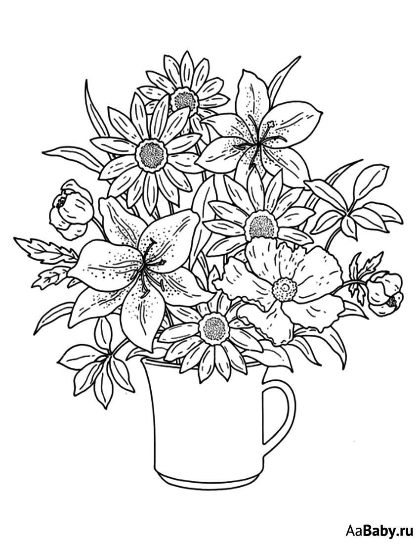 «Раскраски Цветы в вазе распечатать бесплатно, скачать ...