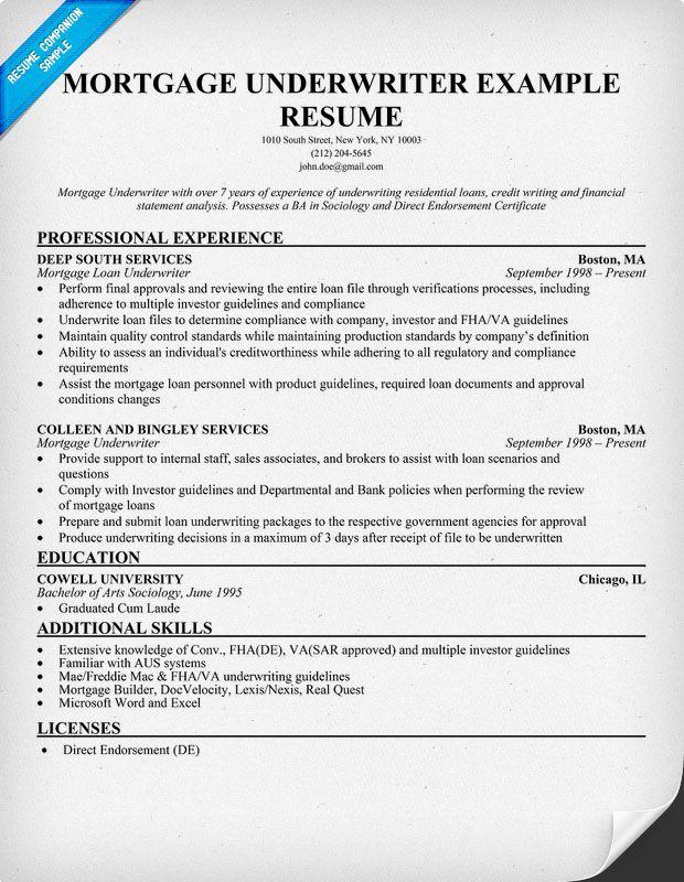 mortgage underwriter resume