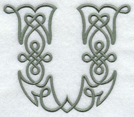 Celtic Knotwork Letter U - 5 Inch design (F9347) from www.Emblibrary.com